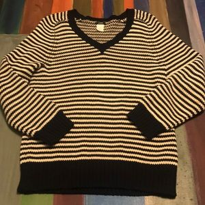 J. Crew navy and white stripe cotton sweater Sz M